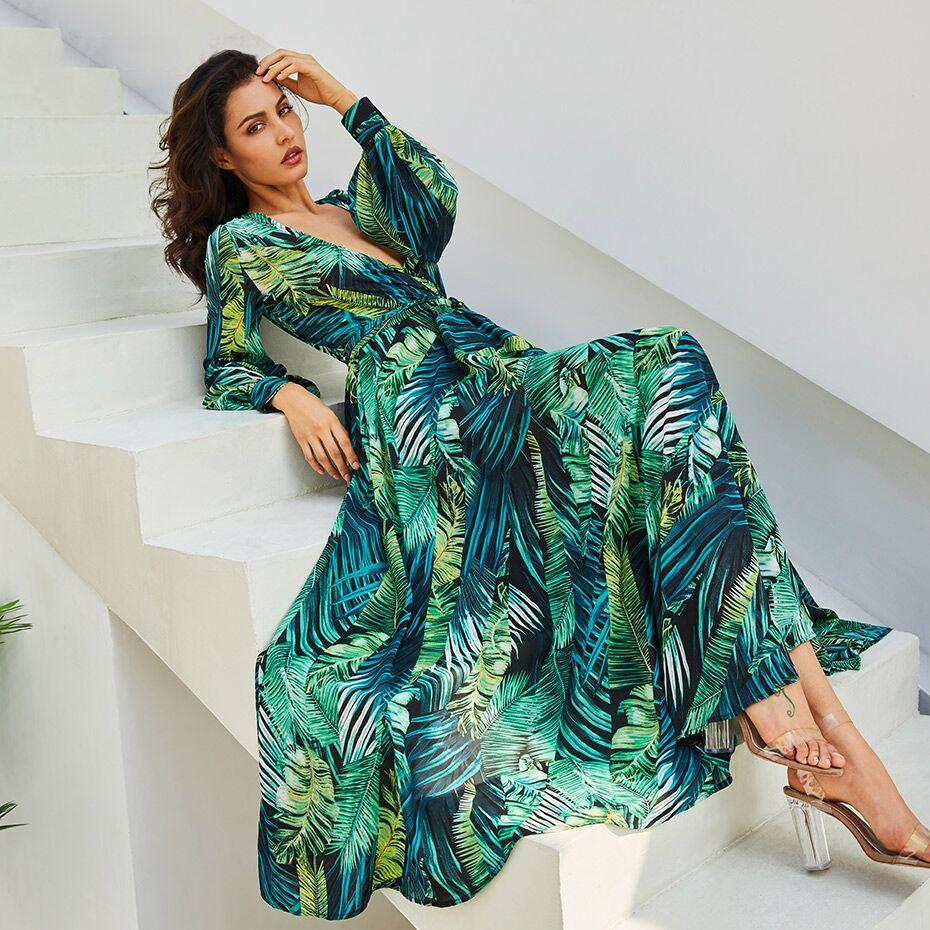 Floral print maxi chiffon dress with v neck bedruckten Kleid Bridesmaid dress Casual Rehearsal dinner romantic rustic dress robe