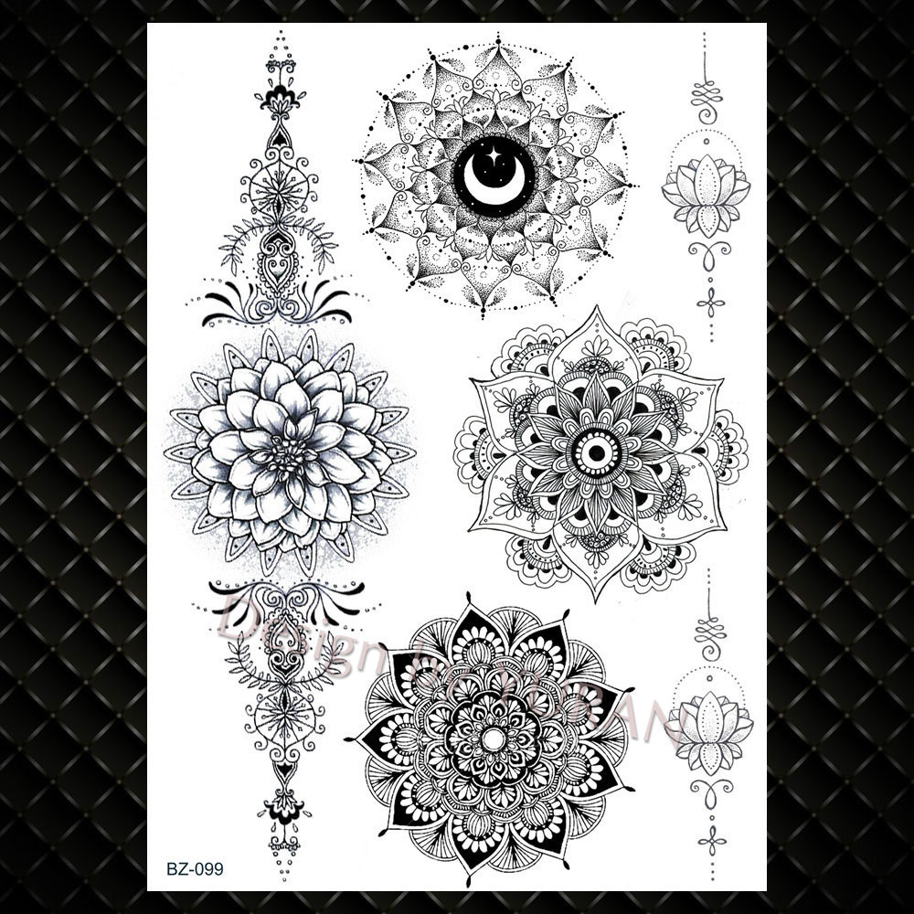 Buho Tatuaje Mandala yuran muchacha de las mujeres big arm búho tatuaje temporal falso mandala  de la flor de la alheña de la india tatoo calcomanías personalizadas  tortuga