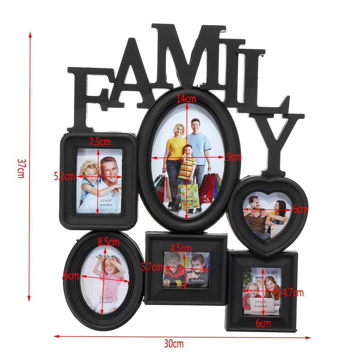 Family Photo Frame Wall Hanging 6 Pictures Holder Display Home Decor Gift Black Multi-sized Back Side With Pull Tabs 30x37cm J190716