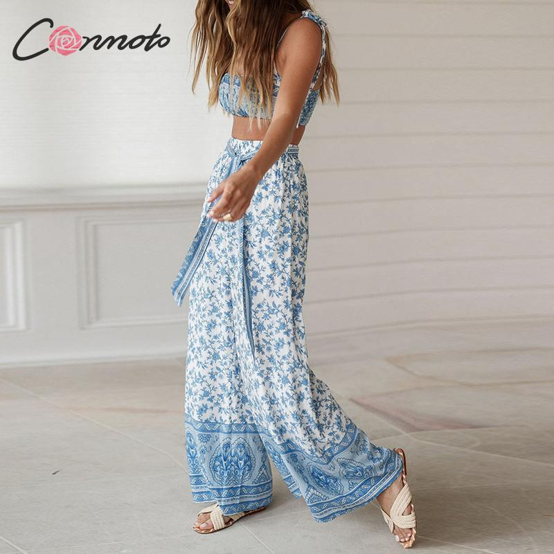 Conmoto Casual Beach Bohemian Women Jumpsuits Summer 2019 Wide Leg Female Jumpsuit Sets Floral Print Rompers Y19051501