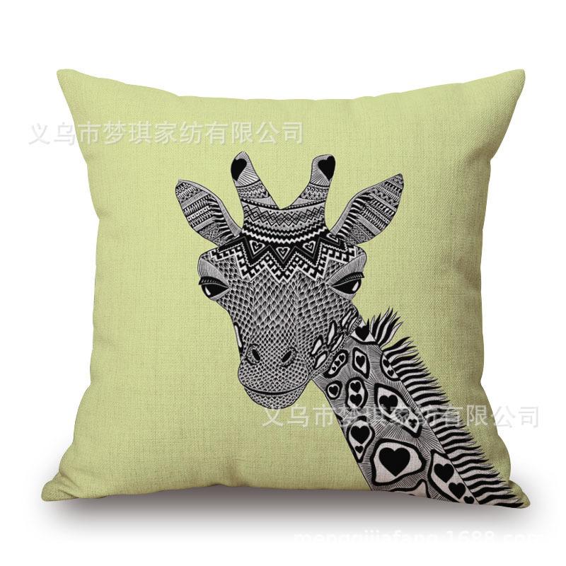 Cabeça de animal Retrato Abrace Fronha de Algodão Número Impressão Almofada Mobiliário Doméstico Sofá Por Fronha