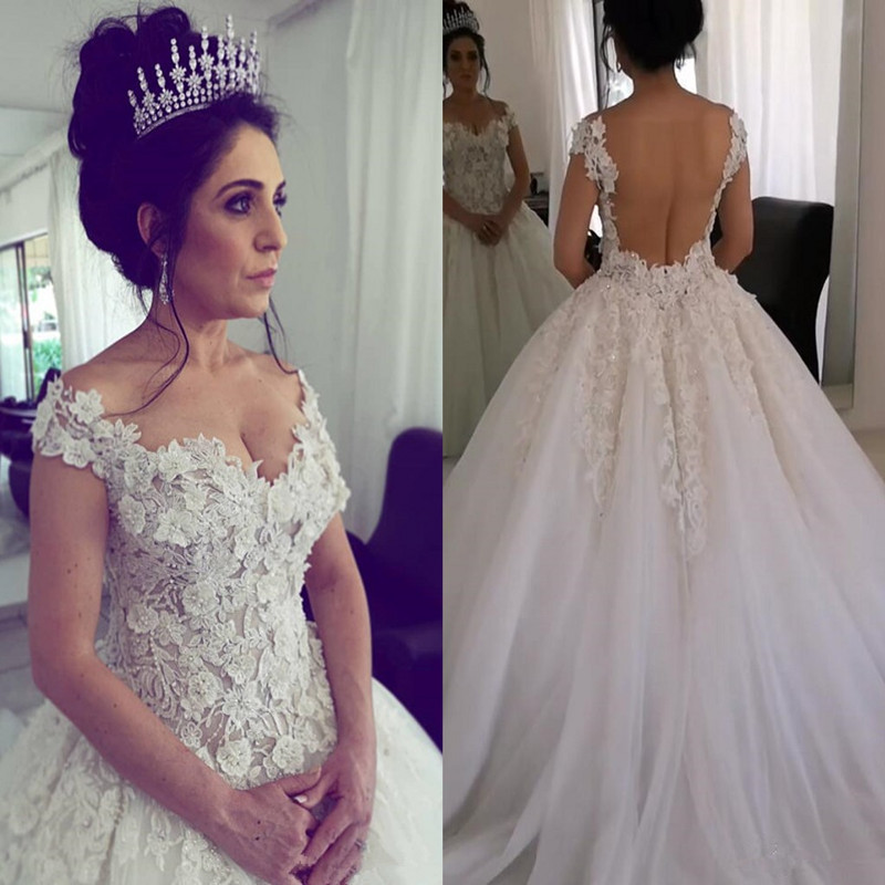2020 Arabic 3d Floral Lace Beaded Wedding Dresses Off The Shoulder