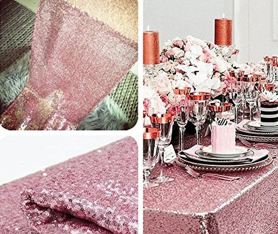 Pink Gold Sequin Tablecloth 1