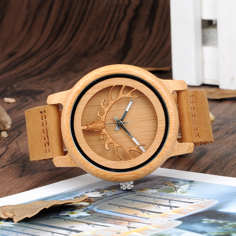hollow deer bamboo watch A27