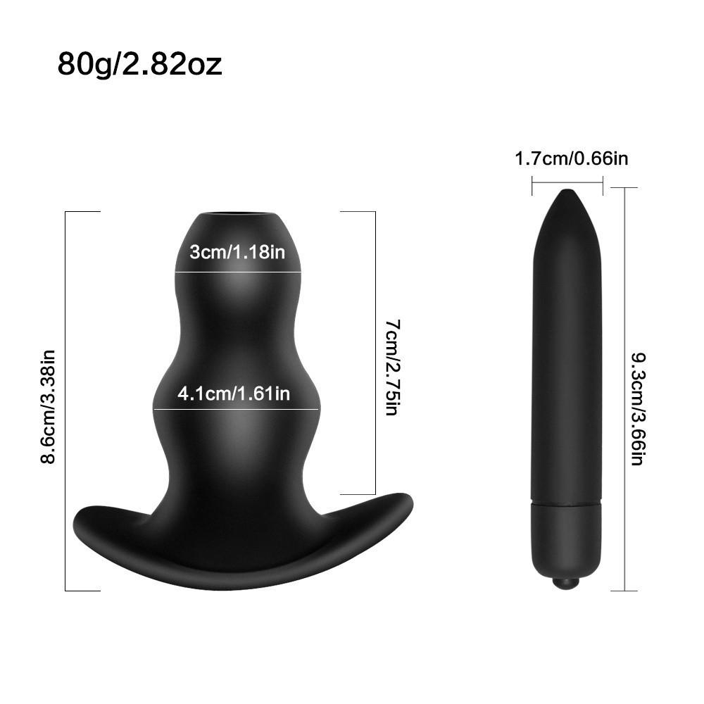 Hollow Butt Plug Enemator Elektro Şok Spekulum 10 Hız Vibratör Erkekler Kadınlar için Anal Dilatör Elektrikli Masaj Seks Oyuncakları C19010501