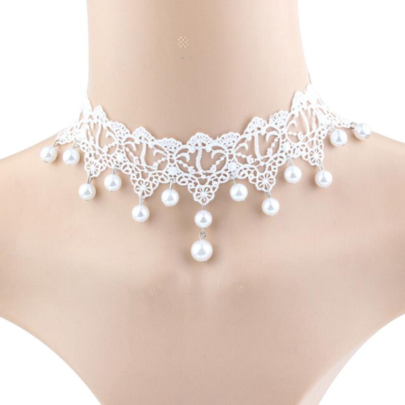 Bride Wedding White Pearls Beads Choker necklace set vintage style victorian UK