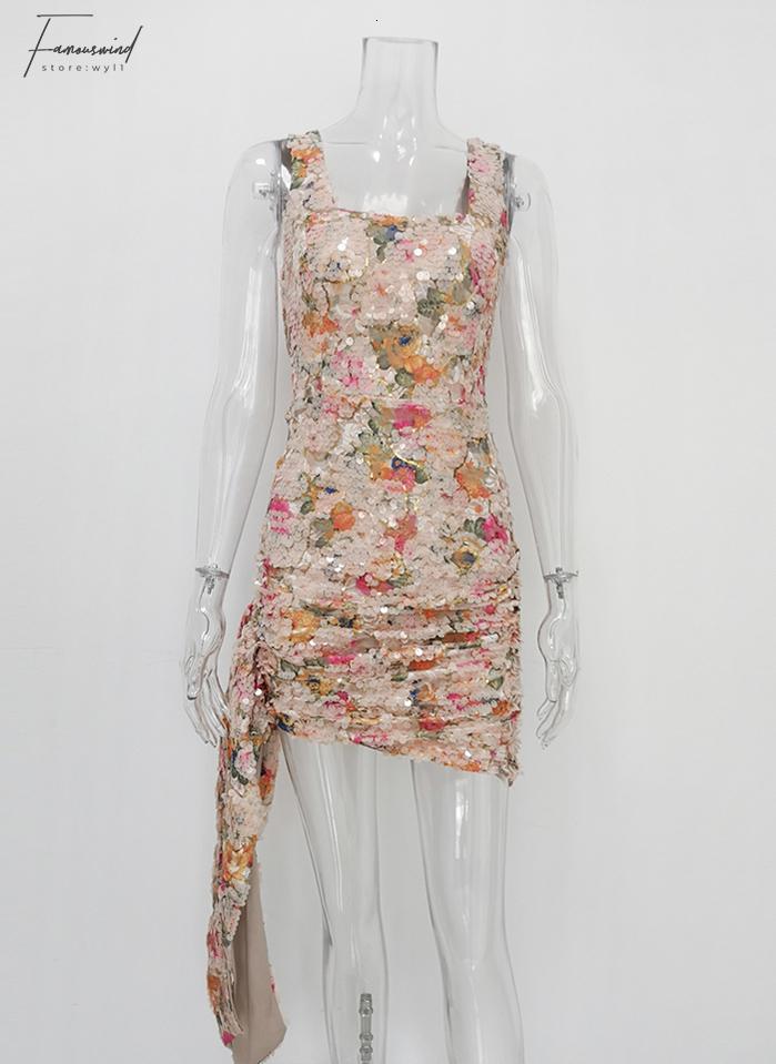 Nouveau Élégant Floral Paillettes Soirée Bureau Bureau Dames Dress Party Mini Dress Chic Côté Goutte Froncé Wrap Vestidos