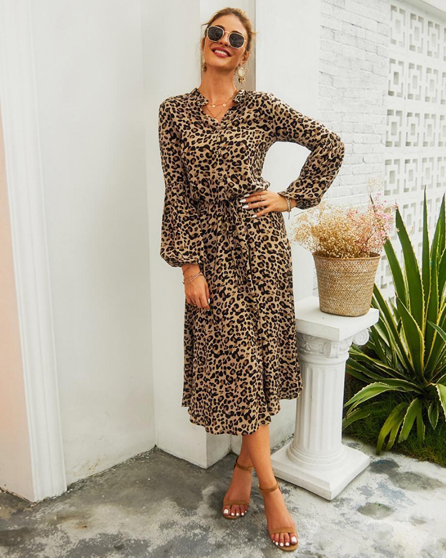 beiläufige kleider damenbekleidung frühlings- und sommerfrauen 2020 new  amazon leopard lange Ärmel mittellangen kleid weiß, khaki, rot, gree