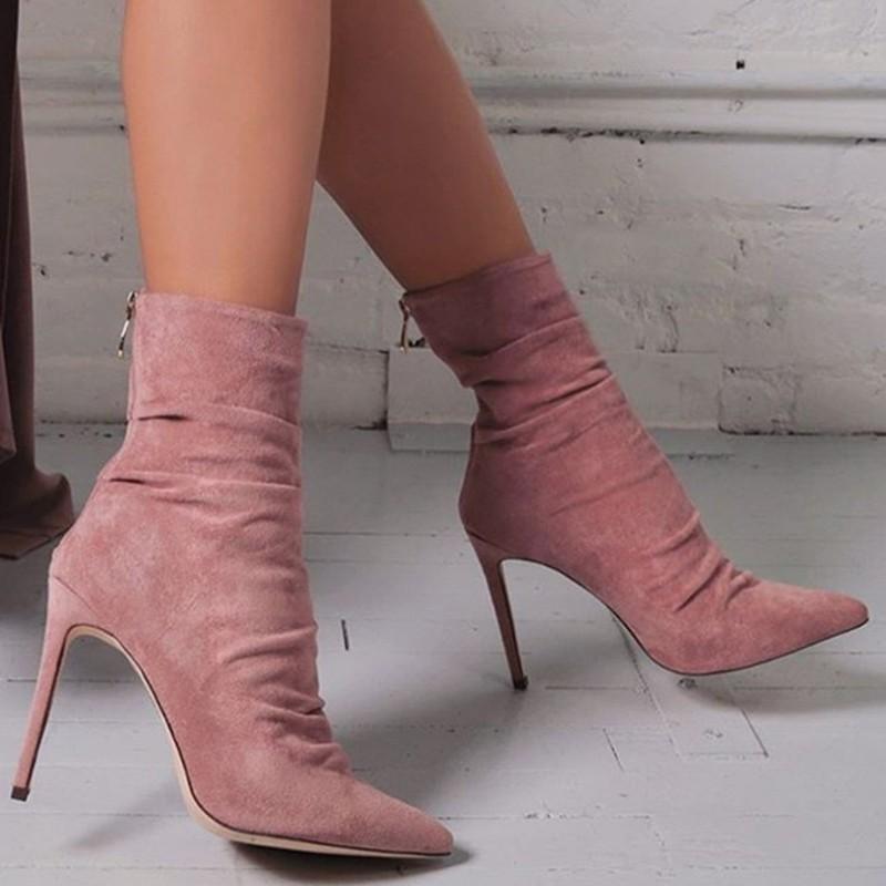 Femme Socquette Mi Talon Aiguille Bout Pointu confortables Bottes Femmes Chaussures Taille