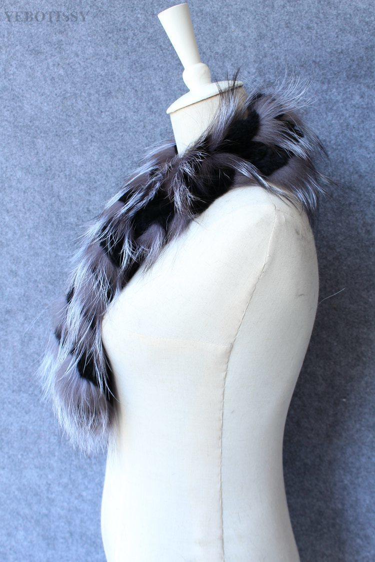 natural rex rabbit fur scarf silver fox fur (4)