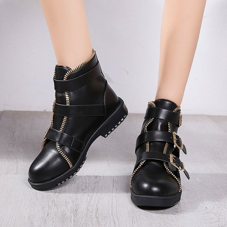 Women British Style Martin Boots Lady Belt Buckle Ankle Boots Girl Zipper Platform Ankle Motorcycle Boots Shoes hjm89