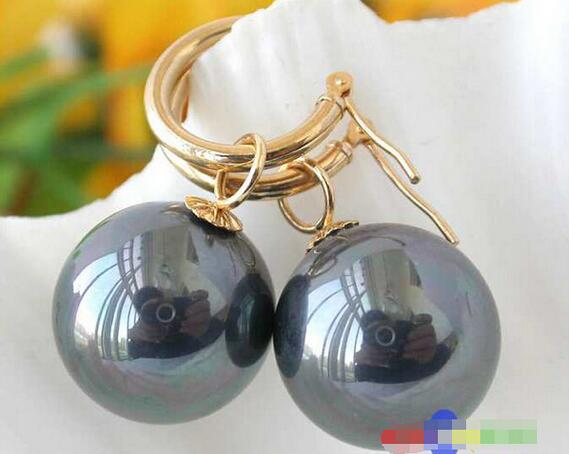 10//12//14mm rouge SOUTH SEA SHELL PEARL PERLES rondes silver Hook Dangle Earrings