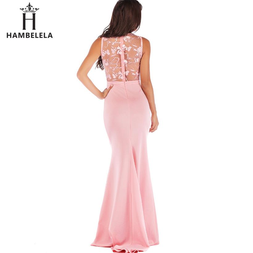HAMBELELA Long Maxi Backless 2019 Women Dress Summer Evening Party Dresses Sexy O-Neck Elegant Floral Lace Dress Vestidos Longo (3)