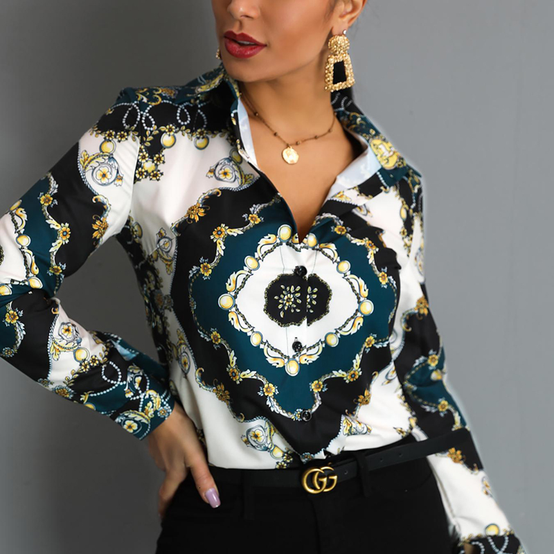 Women Elegant Office Lady Blouses 2019 Spring Turn Down Collar Long Sleeve Scarf Print Office Shirts Plus Size Blouse