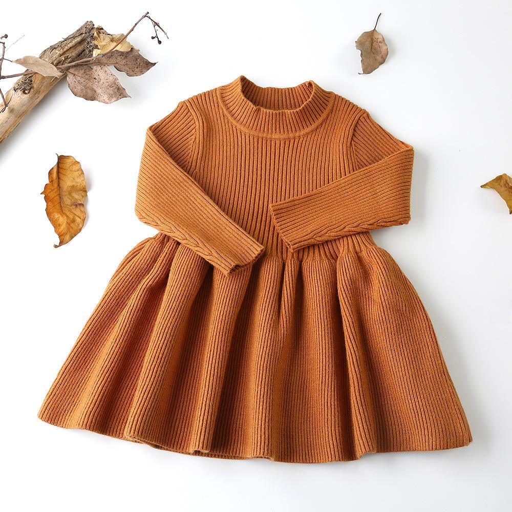 Vestidos de bebê para meninas outono inverno de manga comprida de malha vestido de princesa colar de folha de lótus bolso boneca dress meninas roupas de bebê