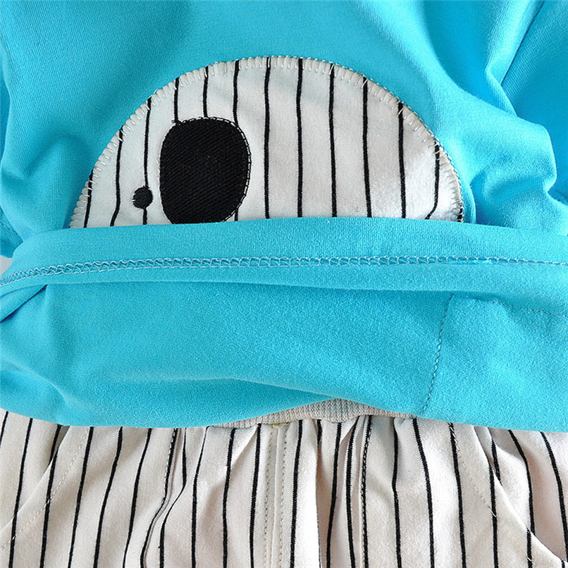 2PCS Baby Boy Sets Toddler Infant Baby Boy Short Sleeve Cartoon Elephant T-shirt Tops+Striped Pants Sets Baby Boy Clothes M8Y18 (21)