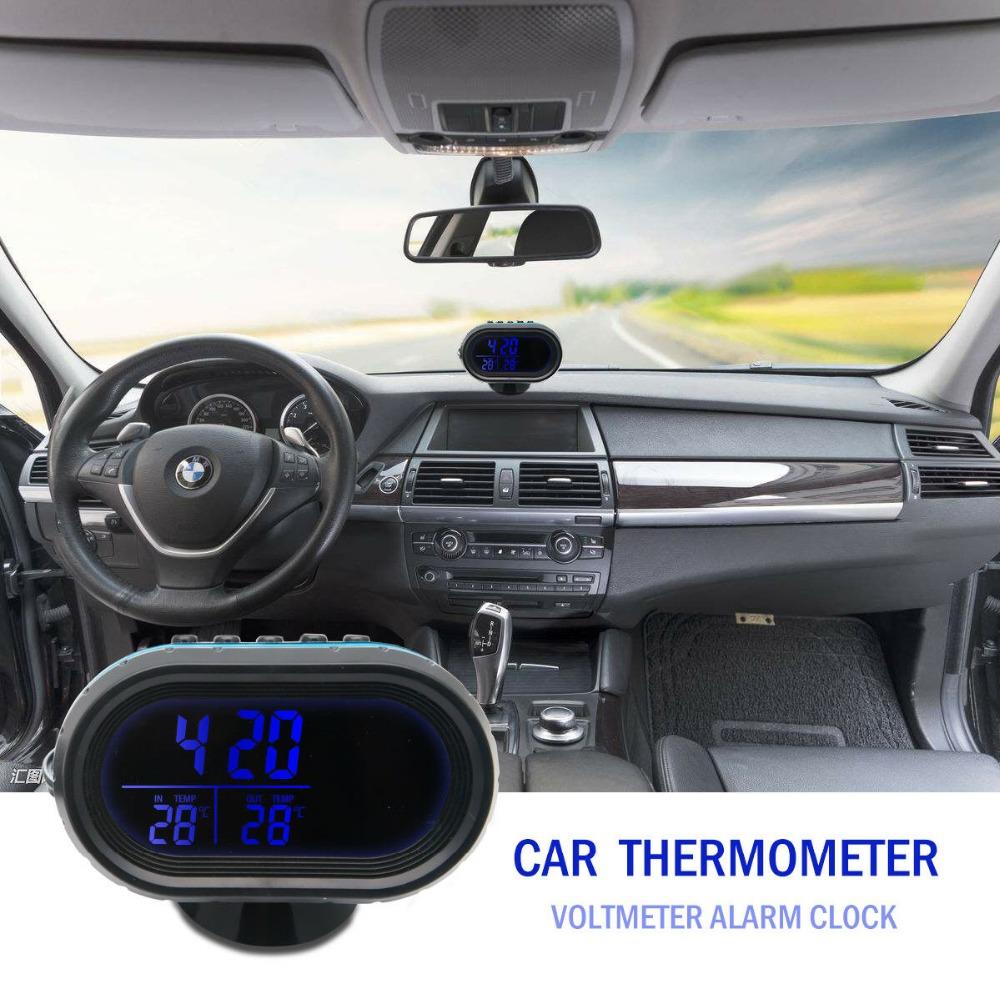 Auto Auto Fahrzeug Digital LCD Monitor Thermometer Spannungs Wecker 12V-24 V Neu
