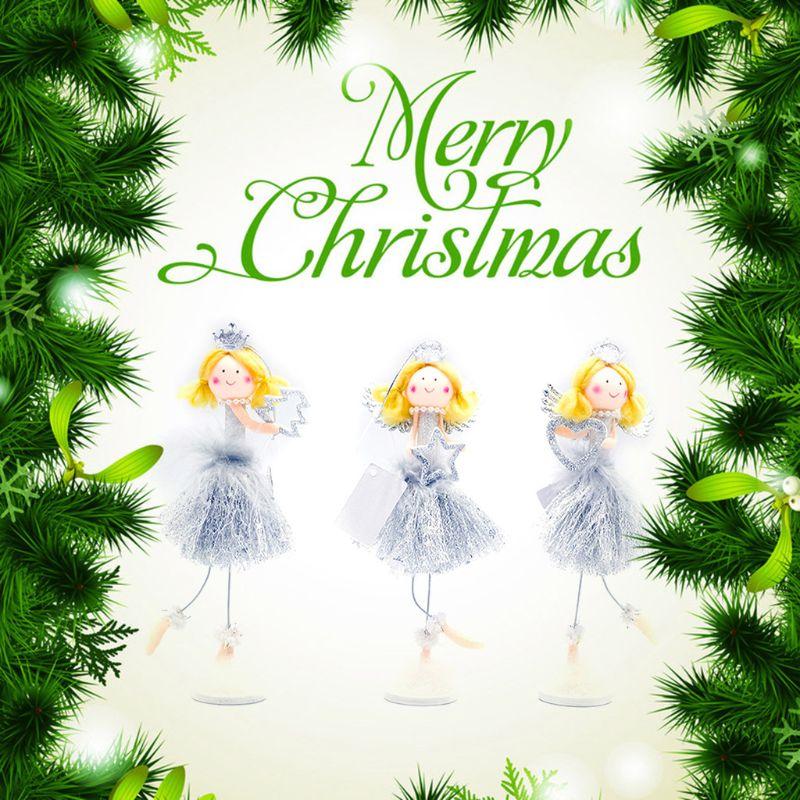 / set de Noël Blond Argent Jupe Ange Poupée Pendentif Hanging Accueil Noël Décorations d'arbre Décorations enfants Cadeaux Nouvel An