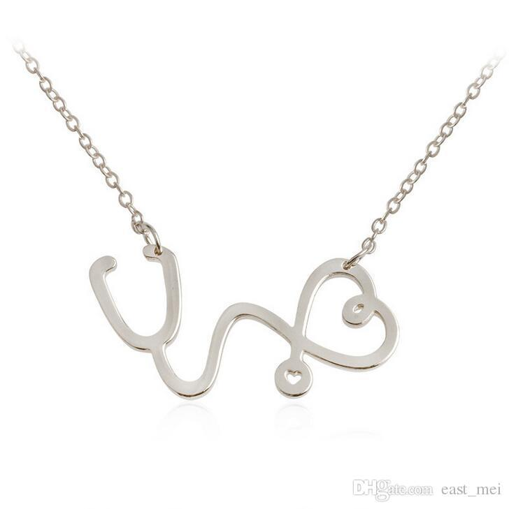 High quality New love stethoscope pendant personality men and women with good friends necklace WFN447 with chain a