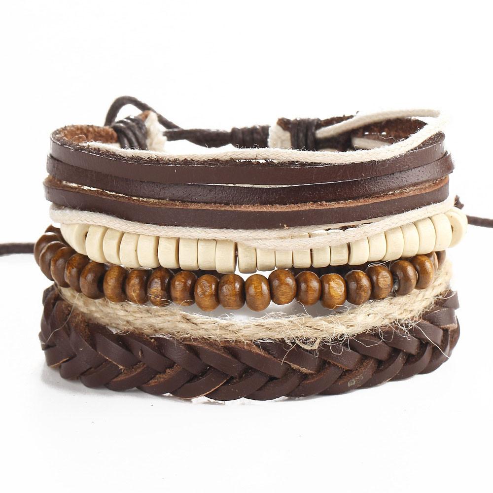 4Pcs Agate Perles Bracelet en cuir tressé Cuff Bracelet Bracelet Pour Hommes Femmes