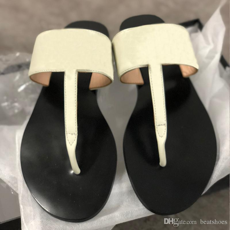 Fashion Designer Slides Flip-flops Leather thong sandal with Double Metal Black White Brown slippers Summer Beach Sandals with BOX US11