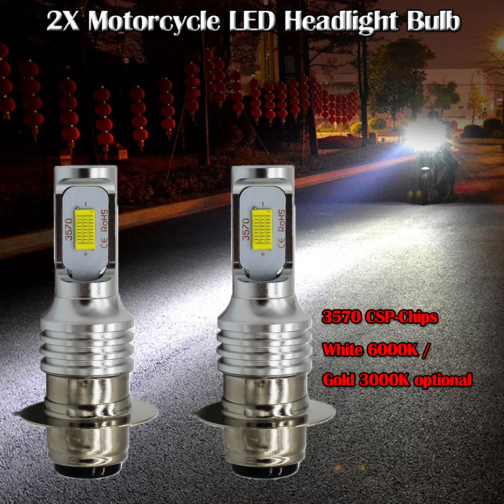 RGB Strobe 2x H4 900LM LED Motorcycle Moped Headlight Bulb Fog Light DRL White