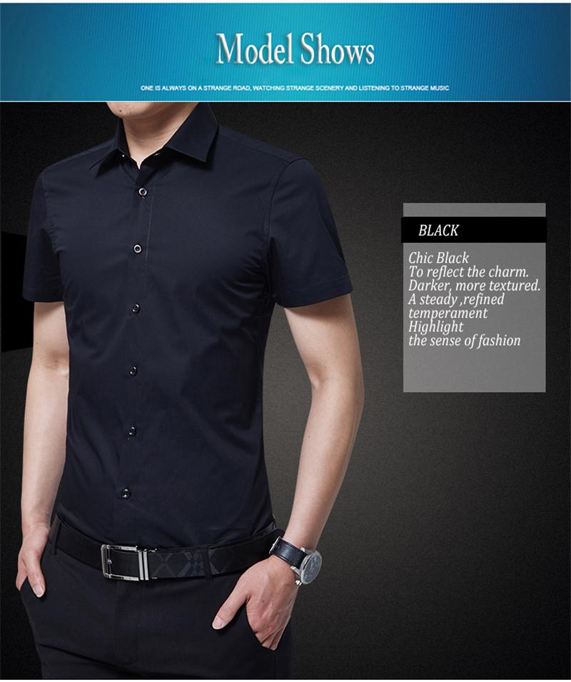 BROWON Brand New Formal Shirt Men Short Sleeve Shirt Turn Down Color Slim Fit Casual Shirt Plus Size M-5XL Camisa Masculina11