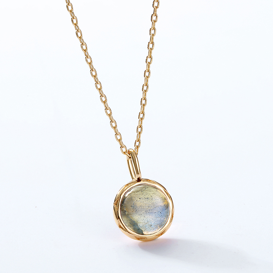 ALLNOEL Real Labradorite Pendants Necklace For Women Solid 925 Sterling Silver Round Gemstone Jewerly Engagement Wedding New (6)