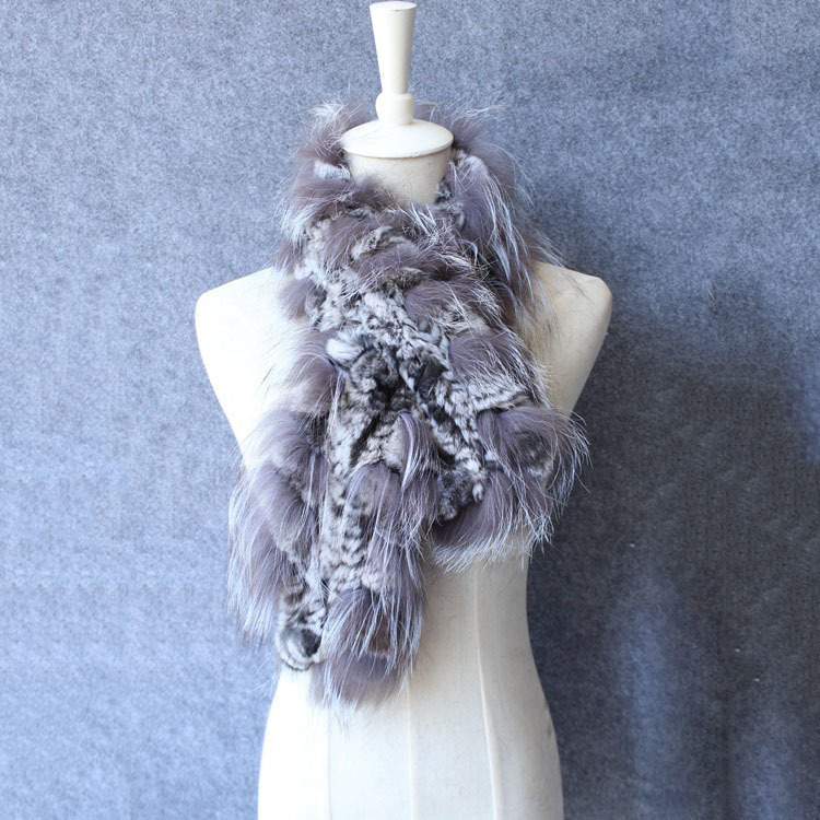 natural rex rabbit fur scarf silver fox fur (6)