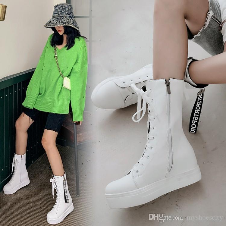 Small Big size 33 To 42 43 Casual Lace Up Height Increased Platform Mid Calf Boots White Black