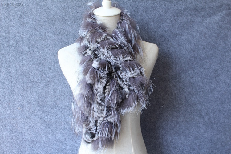 natural rex rabbit fur scarf silver fox fur (8)