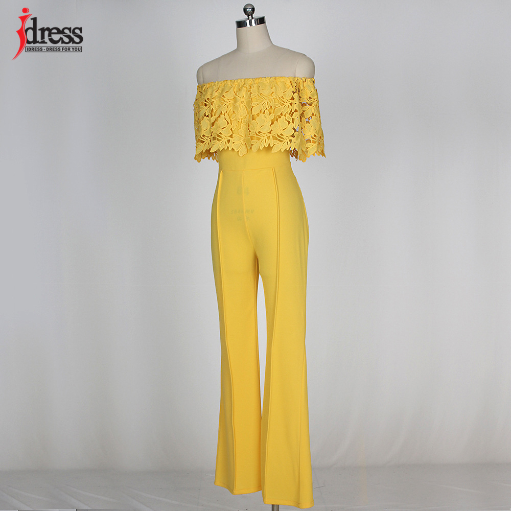 IDress Lace Crochet Rompers Women Jumpsuit Sexy Strapless Bodycon Jumpsuit Wide Leg Black White Yellow Long Pant Romper Overalls (5)
