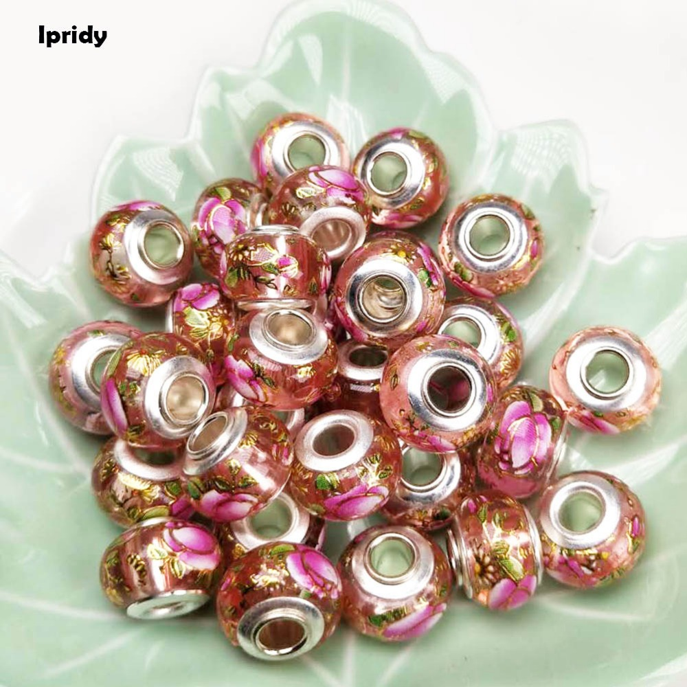 20Pcs/lot 14mm Pink+Rose Flower European Beads with Silver Brass Pipe core,Large Hole Glass Beads for Jewelry Making