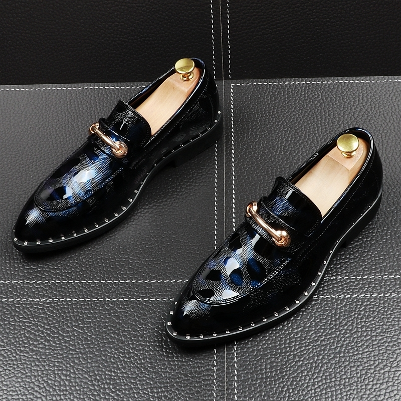 Memorable2019 Patent Light Man Sharp England Trend Set Foot Leisure Time Leather Flange Within Increase Korean Loafer Shoes