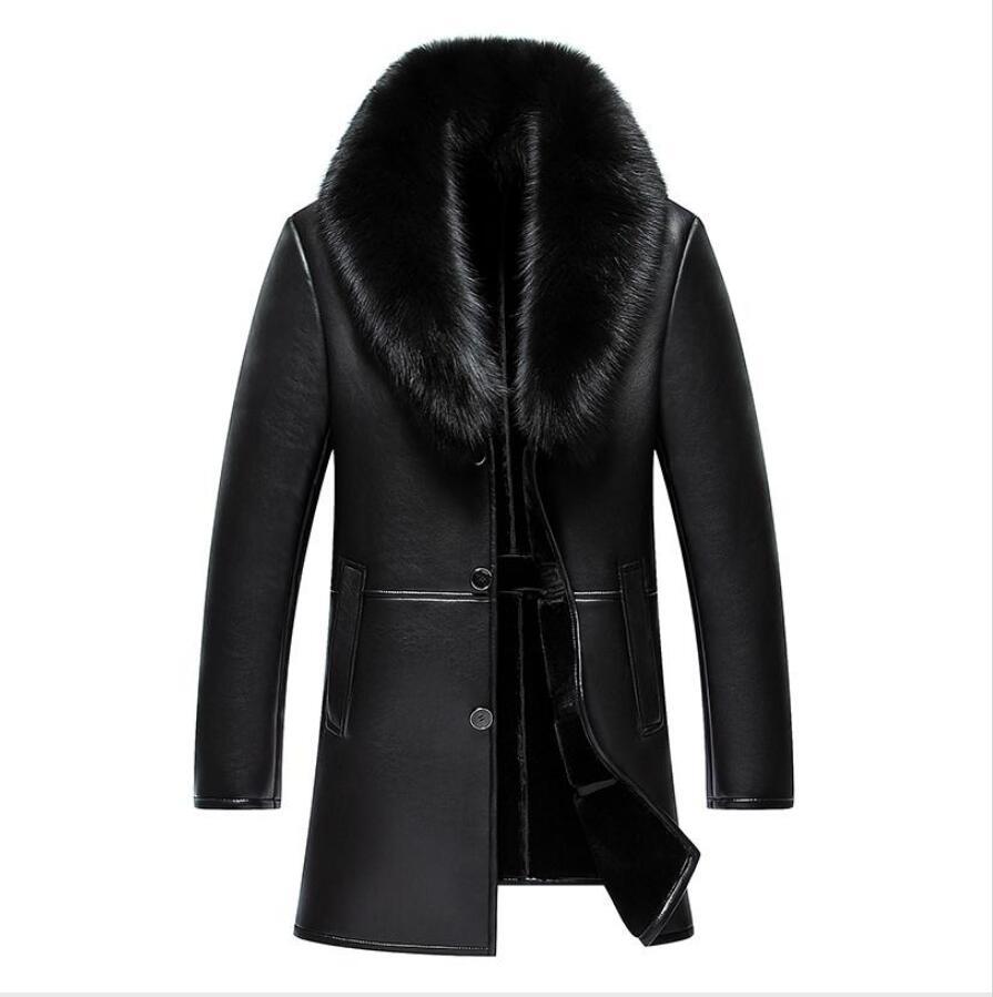 HIVER pour HOMME VESTE CUIR chaude Tops Parkas Vestes Manteau Trench outwear pardessus
