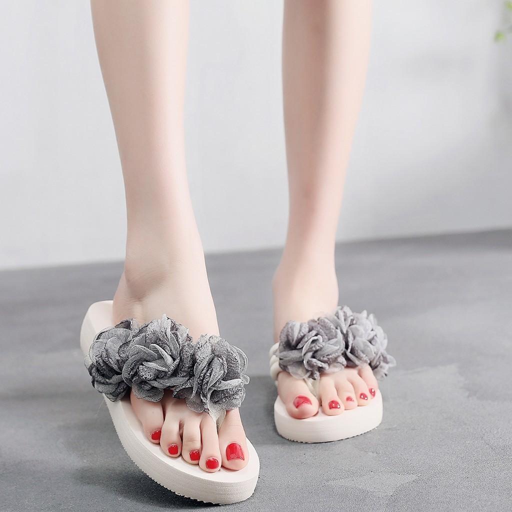 1Summer Flip Flops Women Slippers Flower Beach Sandals Women Low Heel Outdoor Flat Slippers Casual Shoes