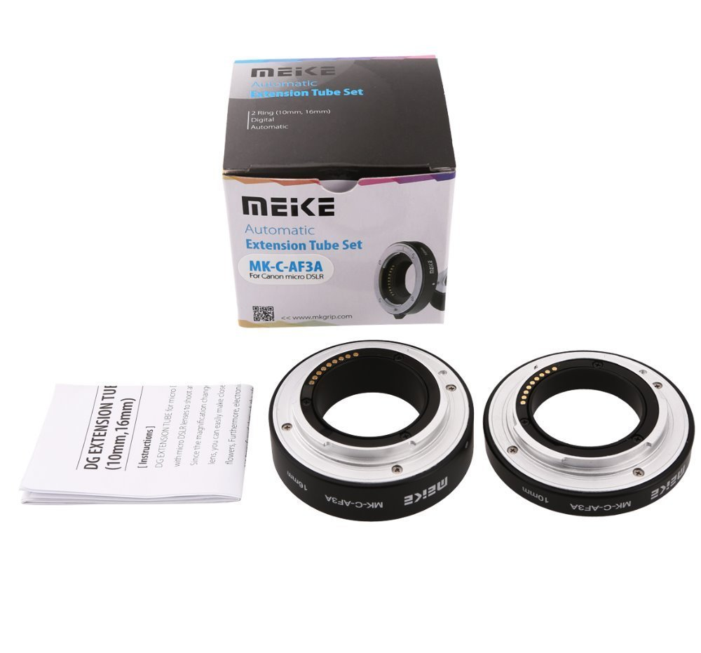 C-AF3A Metal Auto Focus AF Macro Extension Tube Set 10mm 16mm for Canon EOS M Mount Micro DSLR Camera