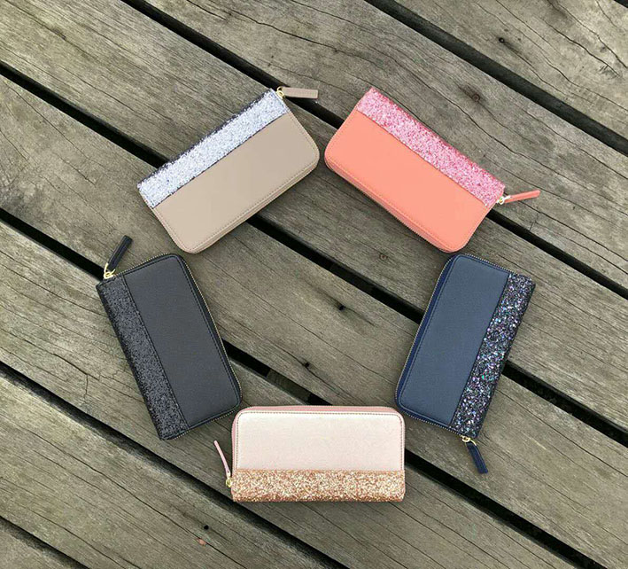 The hottest new 5 colors hot sale new style wallets coin purse women glitter card holders free shipping
