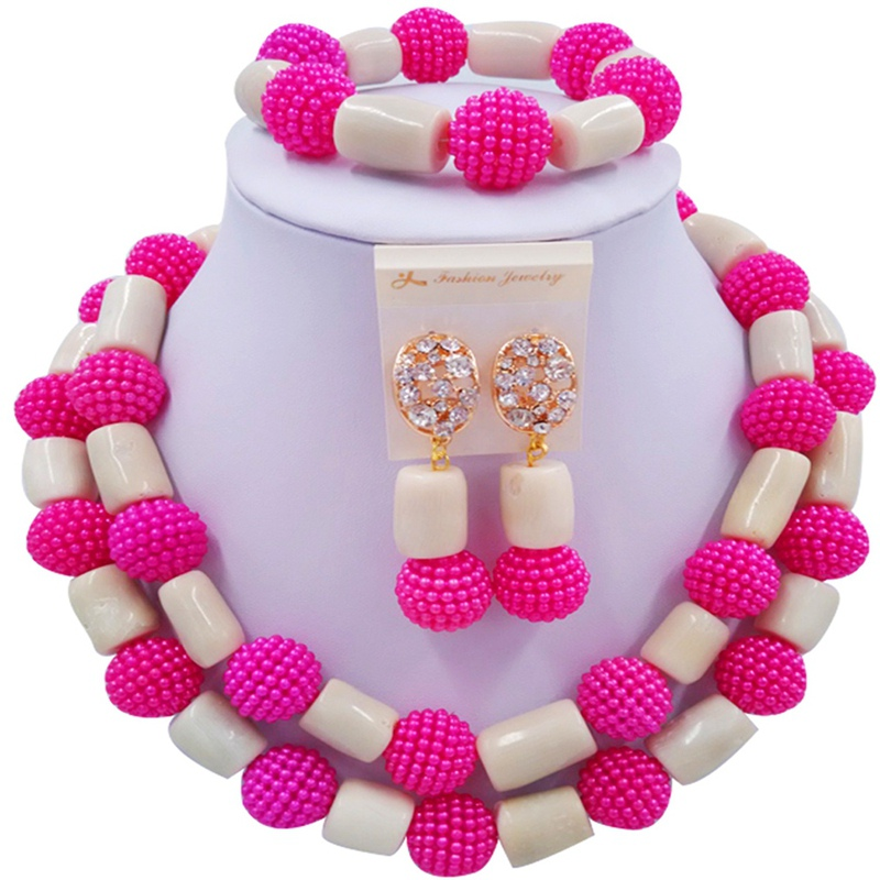 Jewelry Sets Hotpink and Beige