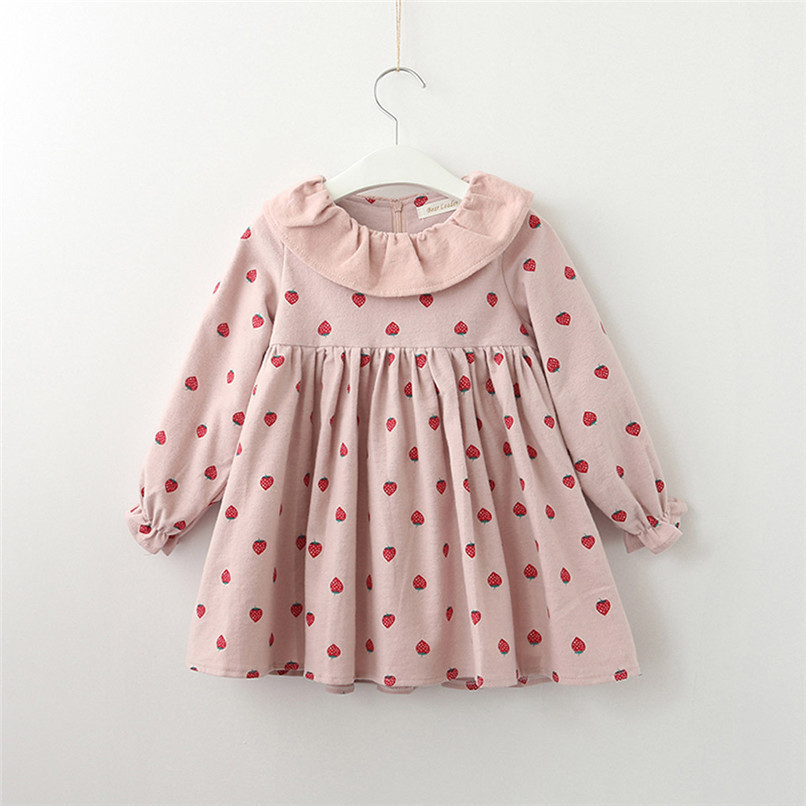 Baby Girl Clothes Long Sleeve Girls Dress Toddler Baby Kids Girls Strawberry Printed Ruffles Party Princess Dress robe fille D13 (6)