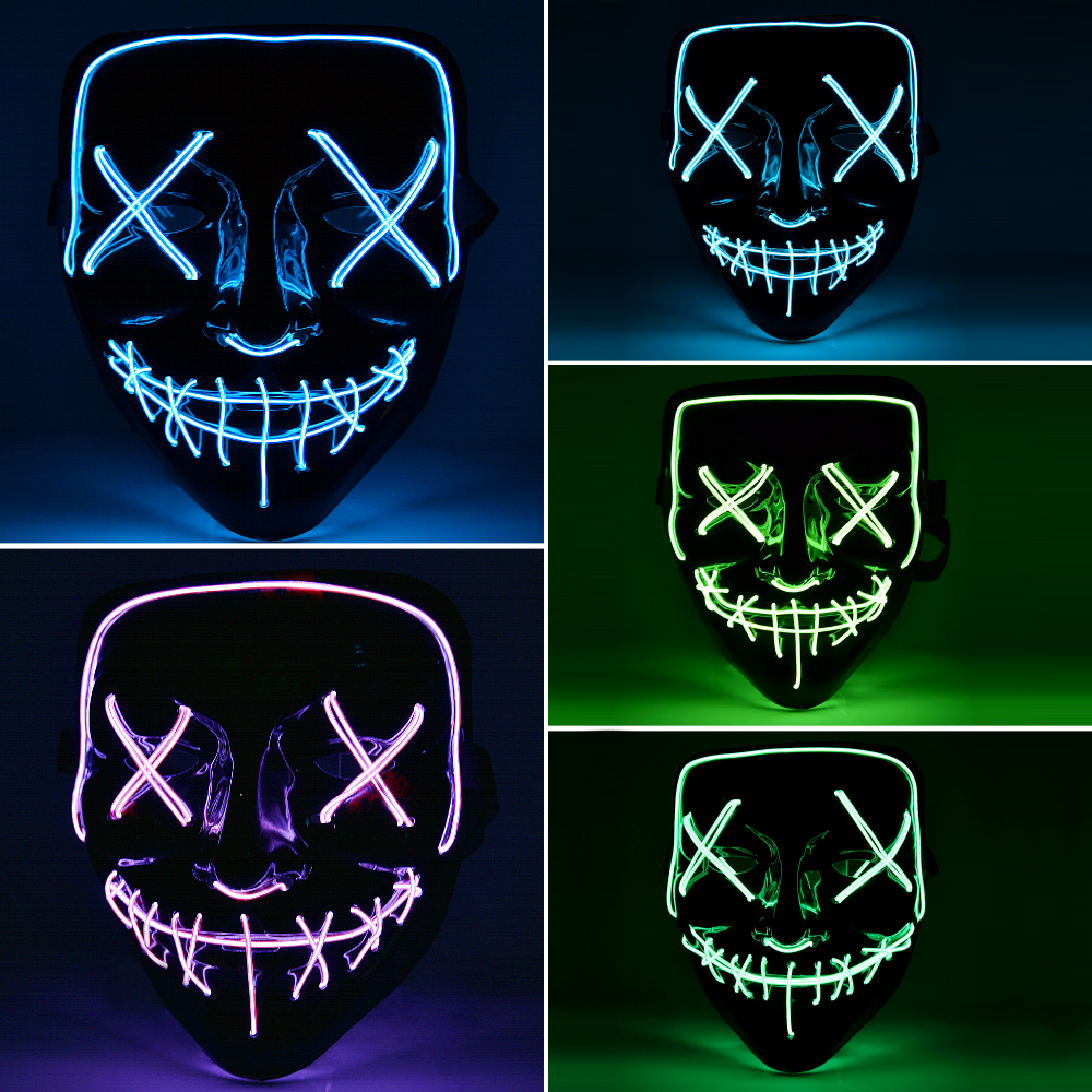 Halloween Mask Light Up Neon Skull Funny Mask The Purge Costume Election Party Mask Glow In Dark Scary Eve Masks Supply (5)