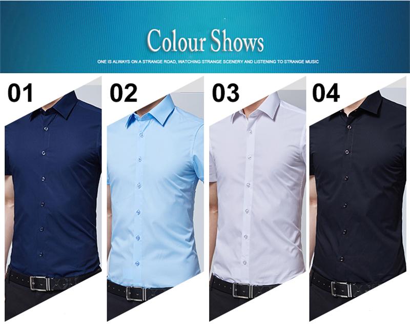 BROWON Brand New Formal Shirt Men Short Sleeve Shirt Turn Down Color Slim Fit Casual Shirt Plus Size M-5XL Camisa Masculina08