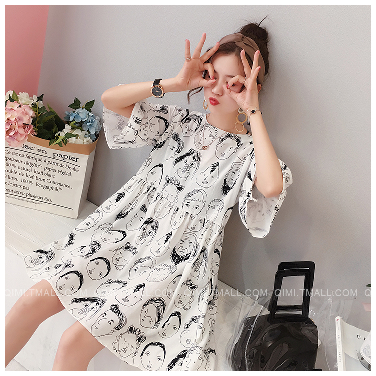 Vestiti di maternità di estate vestiti da infermiera vita alta faccia coreana di allattamento al seno vestiti vestito le donne incinte gravidanza vestito Y190522
