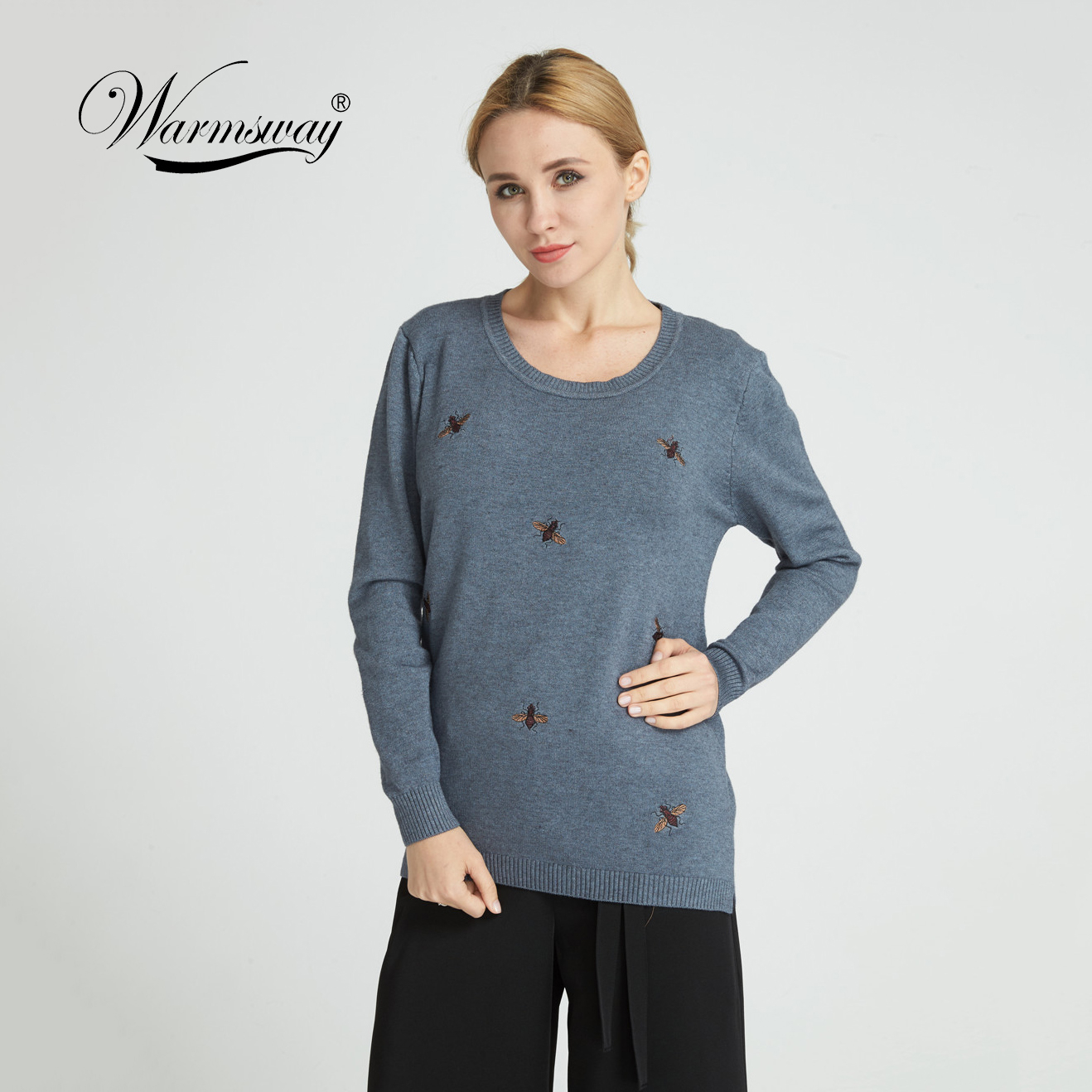 Warmsway 2018 Fall Winter Bee Embroidery Sweaters PlusSize 2XL Women Pullovers Oversized Knitted Tops female jumper C-153