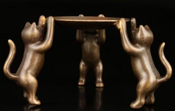 China Old Handwork Copper Carving 3  Lion Noble Lucky Usable Candlestick
