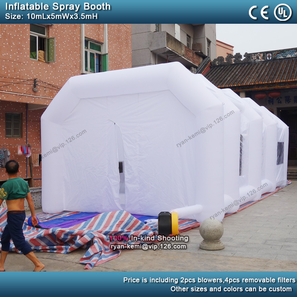 10m 5m 3.5m white Portable Paint Booths big inflatable Spray Booth For sale Inflatable Spray tent For Car Painting back view