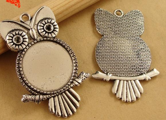 Fashion Vintage owl base time gem charms pendant 20MM silver gold bag Handmade earring bracelet necklace anklet