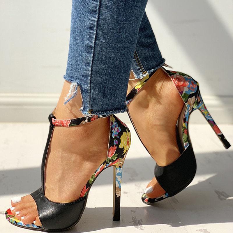SWQZVT New thin heels women fish mouth open toe summer sexy party pumps women shoes 2020 fashion print vintage ladies sandals (6)