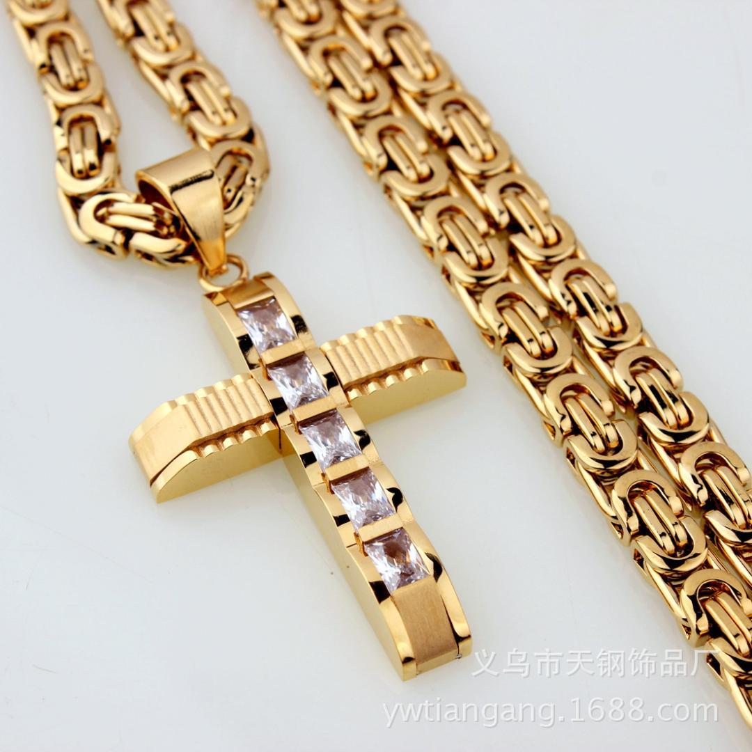 Men Boys Hip Hop Stainless Steel High Quality Cross Pendant Byzantine Necklace