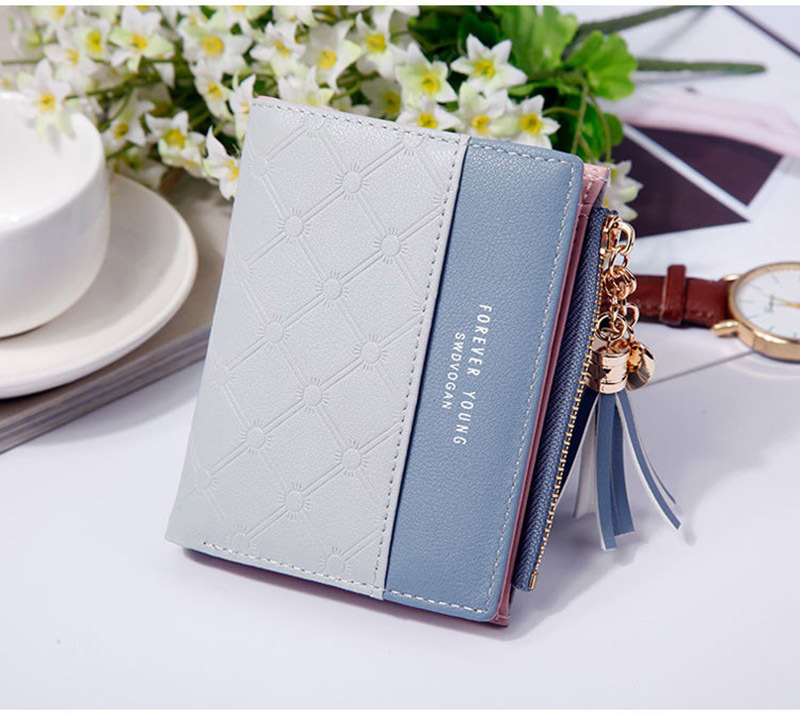 Women Wallet Female Short Paragraph Coin Purse Color Wallet Women Small Fold Wallets Tassel Zipper Button Bag Credit Card Holder (11)